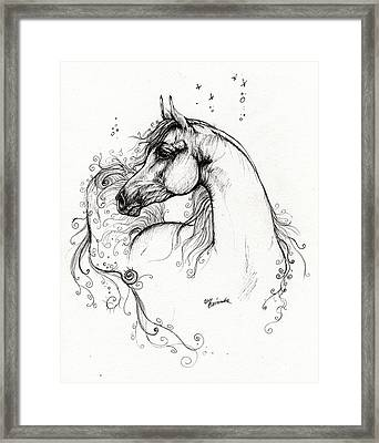 Arabian Horse Drawing 8 Framed Print by Angel  Tarantella