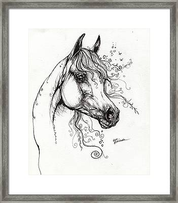 Arabian Horse Drawing 9 Framed Print by Angel  Tarantella