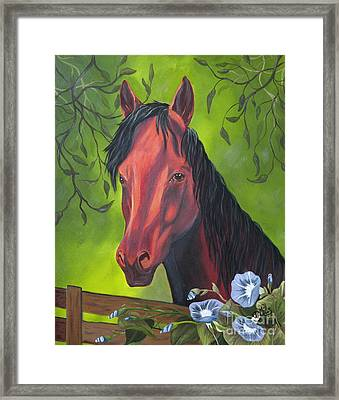Framed Print featuring the painting Arabian Horse by Terri Mills