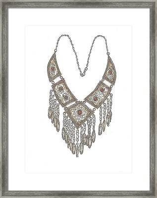 Arabian Necklace Coloured Framed Print by Gloria Hunter