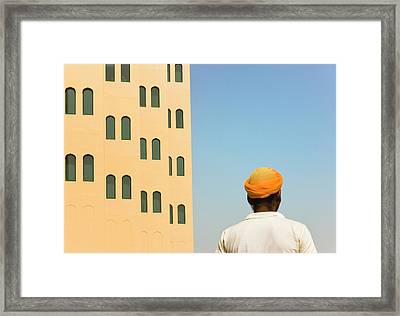 Arabic Man With Traditional House, Old Framed Print