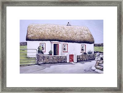 Framed Print featuring the painting Aran Island Thatched Roof Cottage  by Melinda Saminski