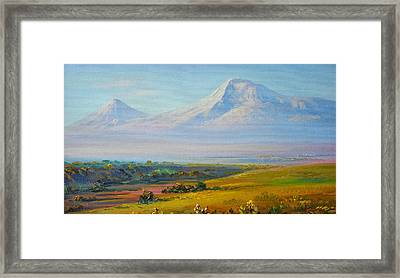 Araratian Field And Ararat Framed Print by Meruzhan Khachatryan