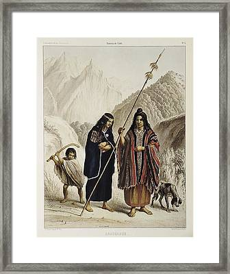 Araucanos Araucanians, People Framed Print by Everett