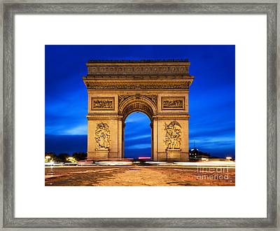 Arc De Triomphe At Night Paris France  Framed Print by Michal Bednarek