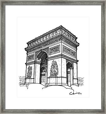 Framed Print featuring the drawing Arc De Triomphe by Calvin Durham