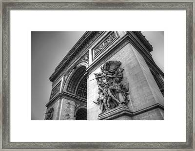 Arc De Triomphe In Black And White Framed Print