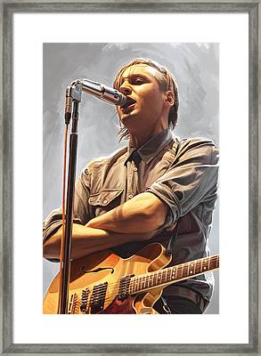 Framed Print featuring the painting Arcade Fire Win Butler Artwork by Sheraz A