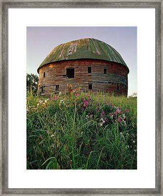 Arcadia Round Barn And Wildflowers Framed Print