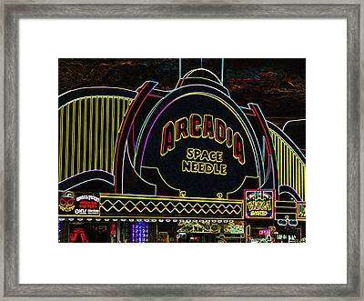 Arcadia Space Needle In Neon Framed Print by Marian Bell