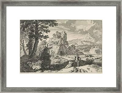 Arcadian Landscape With Ruins, Print Maker Johannes Glauber Framed Print