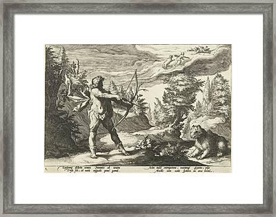 Arcas Aiming His Arrow At Callisto, Hendrick Goltzius Framed Print by Artokoloro