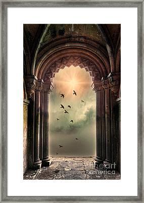 Arch And Birds Framed Print by Jill Battaglia