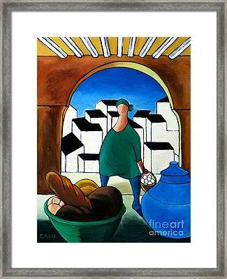 Arch Bread Eggs And Blue Vase Framed Print