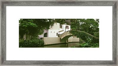Arch Bridge At San Antonio River Walk Framed Print by Panoramic Images