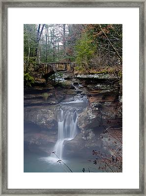 Arch Bridge In The Fog Framed Print