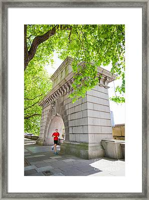 Arch Commerating The 25th Anniversary Of The Accession Of King G Framed Print by Peter Noyce