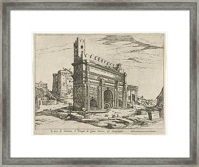 Arch Of Septimius Severus And The Capitol Framed Print by William Of Nieulandt Ii