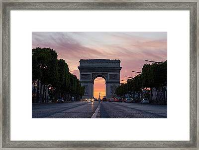 Arch Of Triumph With Dramatic Sunset Framed Print by Gurgen Bakhshetsyan