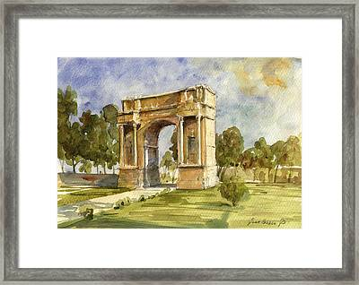 Arch Triumphal Of Antonius Pius At Tunisia Framed Print by Juan  Bosco