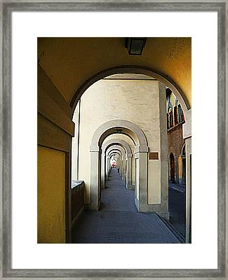 Arch Way To Ponte Vecchio Florence Italy Framed Print
