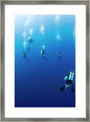 Archaeologists Diving To Shipwreck Framed Print