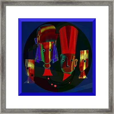 Archaic Heads - 837 Framed Print by Irmgard Schoendorf Welch