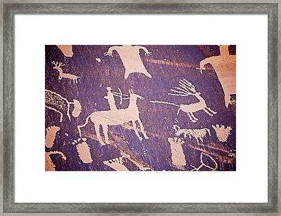Archaic Petroglyphs At Newspaper Rock Framed Print