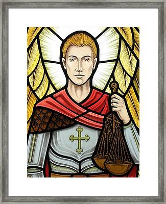 Archangel Michael Detail Framed Print by Gilroy Stained Glass