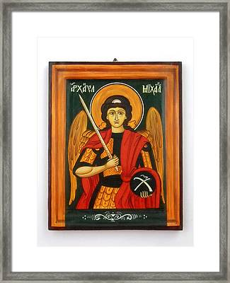Archangel Michael Hand-painted Wooden Holy Icon Orthodox Iconography Icons Ikons Framed Print by Denise Clemenco