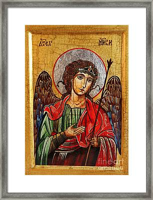 Archangel Michael Icon Framed Print by Ryszard Sleczka