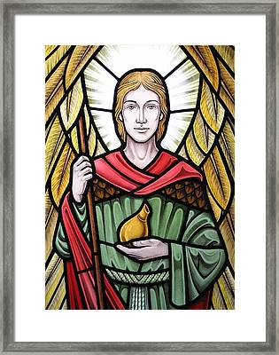 Archangel Raphael Detail Framed Print by Gilroy Stained Glass