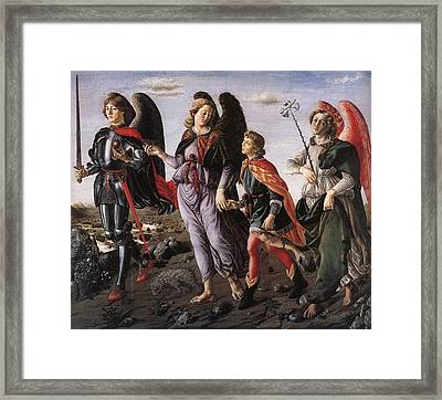 Archangels With Tobias Framed Print by Renaissance Master