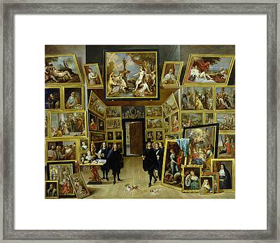 Archduke Leopold Wilhelm 1614-61 In His Picture Gallery, C.1647 Oil On Copper Framed Print by David the Younger Teniers