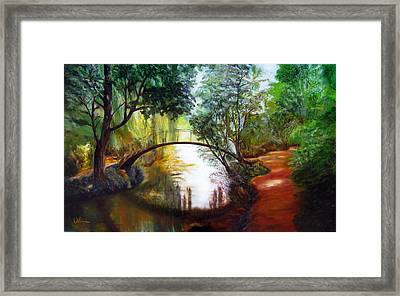Arched Bridge Over Brilliant Waters Framed Print