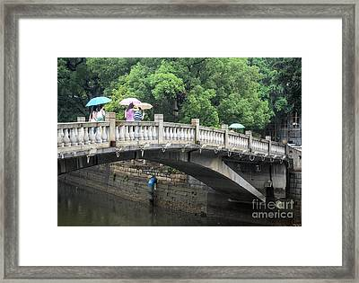 Arched Chinese Bridge With Umbrellas - Shamian Island - Guangzhou - Canton - China Framed Print by David Hill