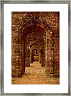 Arched Path At The Basilica Of Bom Framed Print