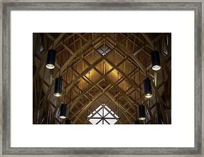 Arched Trusses - University Of Florida Chapel On Lake Alice Framed Print by Lynn Palmer