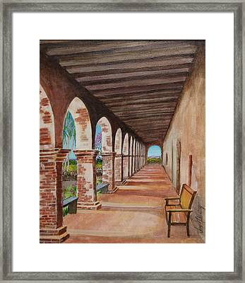 Arched Walkway At Noon  Framed Print by Jan Mecklenburg
