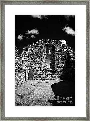 Arched Window In Ruins Ruined Remains And Gravestones Inside The Cathedral At Glendalough Monastic Site Framed Print