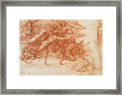 Archers Shooting At A Herm Framed Print by Michelangelo Buonarroti