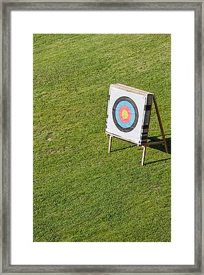 Archery Round Target On A Stand Framed Print by Artur Bogacki