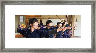 Archery Students Practicing At Japanese Framed Print by Panoramic Images