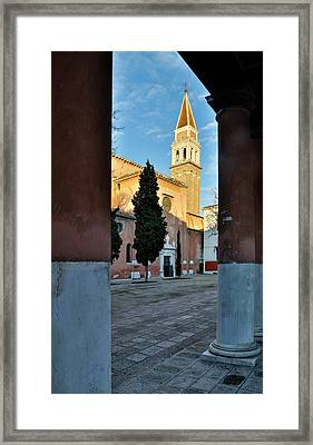 Arches And View Of Bell Tower San Framed Print by Darrell Gulin