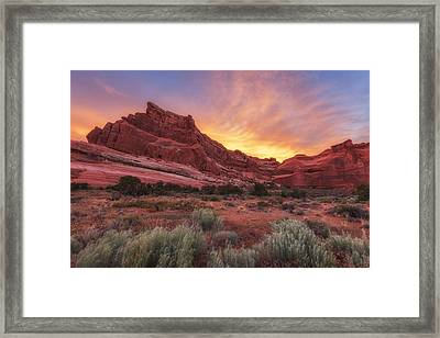 Arches Fire In The Sky Framed Print