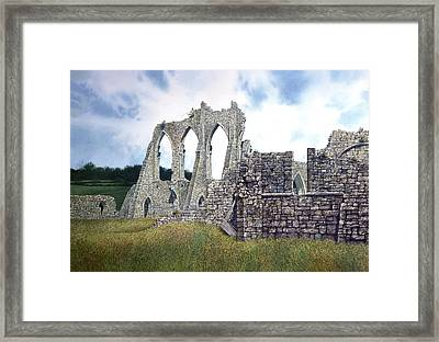 Framed Print featuring the painting Arches Of Bayham Abbey by Tom Wooldridge