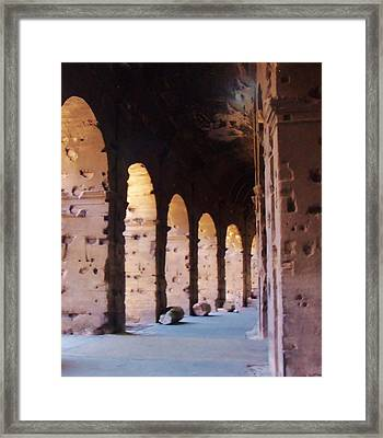 Arches Of The Roman Coliseum Framed Print by Jan Moore
