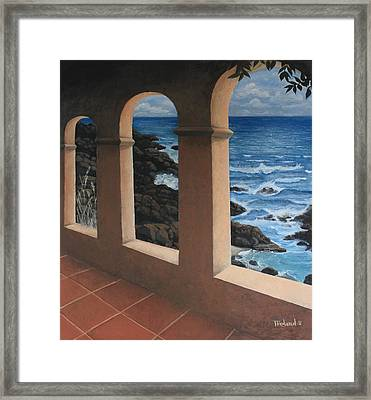 Arches Over The Ocean Framed Print