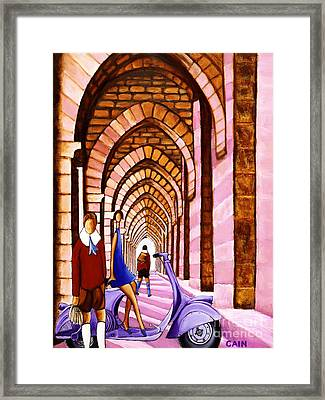 Arches Vespa And Flower Girl Framed Print
