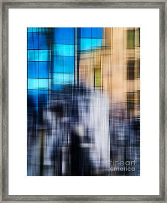 Architectural Abstract In Bright Blue Framed Print